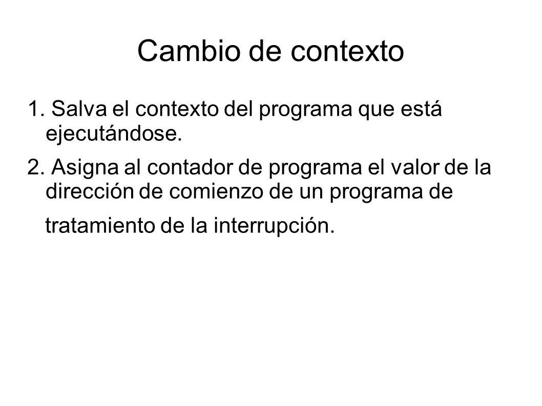 Cambio de contexto 1. Salva el contexto del programa que está ejecutándose. 2. Asigna al contador de programa el valor de la dirección de comienzo de