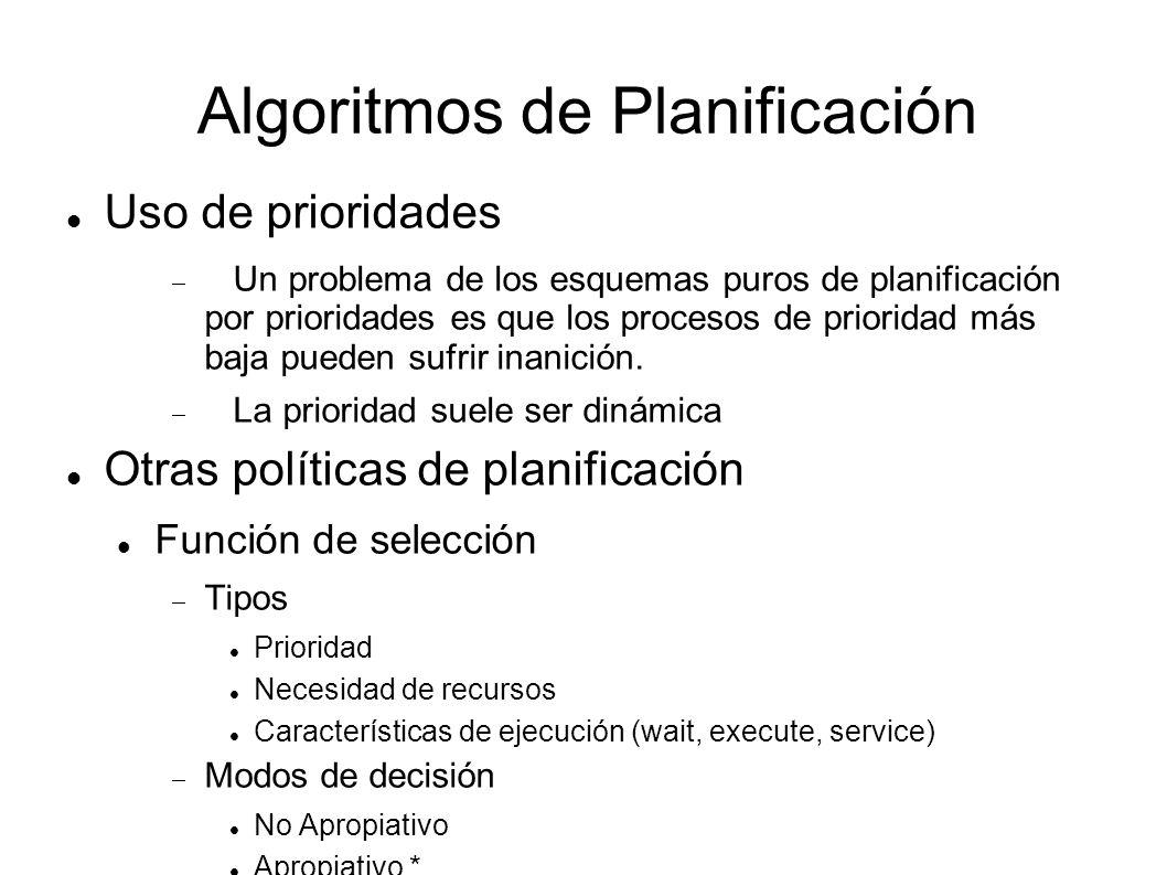 Algoritmos de Planificación Primero en Llegar, Primero en ser Servido FIFO (First-in, First-out) FCFS (First-come, First-served) Simple, no apropiativa, ineficiente por si sola