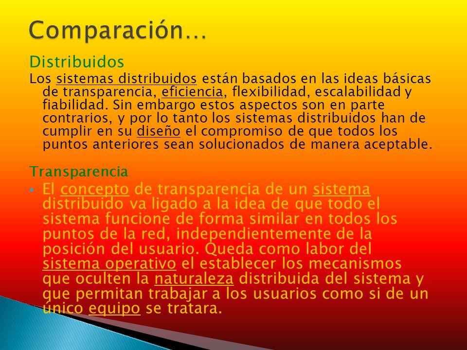 Distribuidos Los sistemas distribuidos están basados en las ideas básicas de transparencia, eficiencia, flexibilidad, escalabilidad y fiabilidad. Sin
