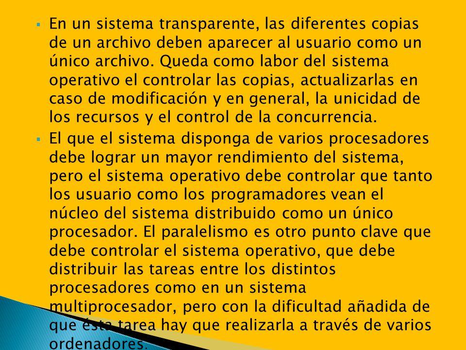 En un sistema transparente, las diferentes copias de un archivo deben aparecer al usuario como un único archivo. Queda como labor del sistema operativ