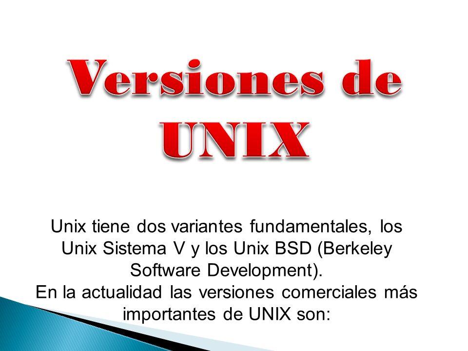 Unix tiene dos variantes fundamentales, los Unix Sistema V y los Unix BSD (Berkeley Software Development). En la actualidad las versiones comerciales