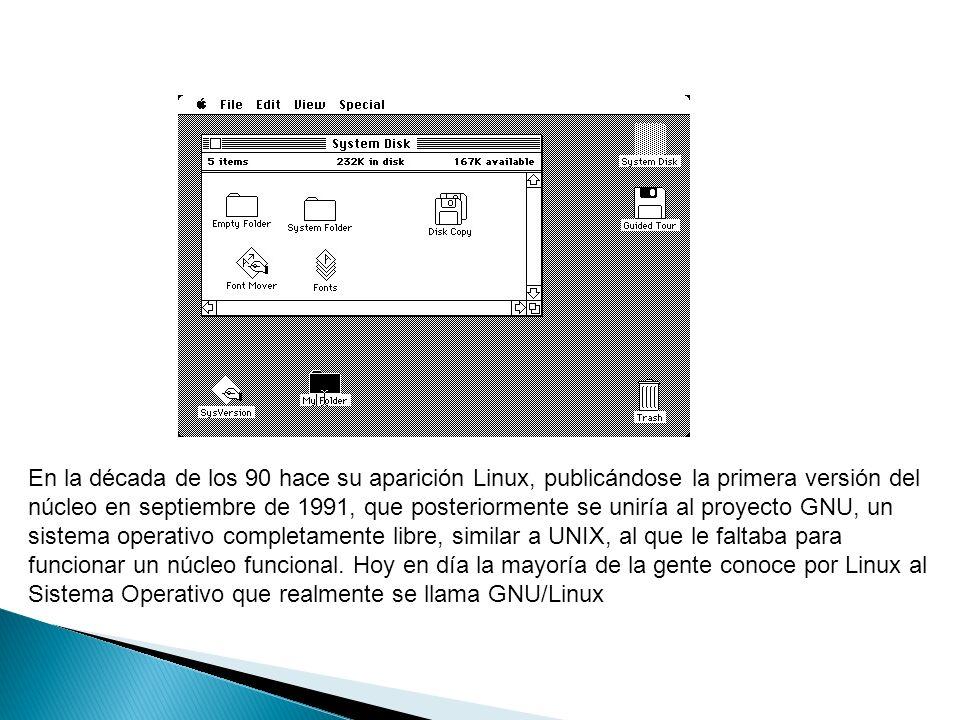 En la década de los 90 hace su aparición Linux, publicándose la primera versión del núcleo en septiembre de 1991, que posteriormente se uniría al proy