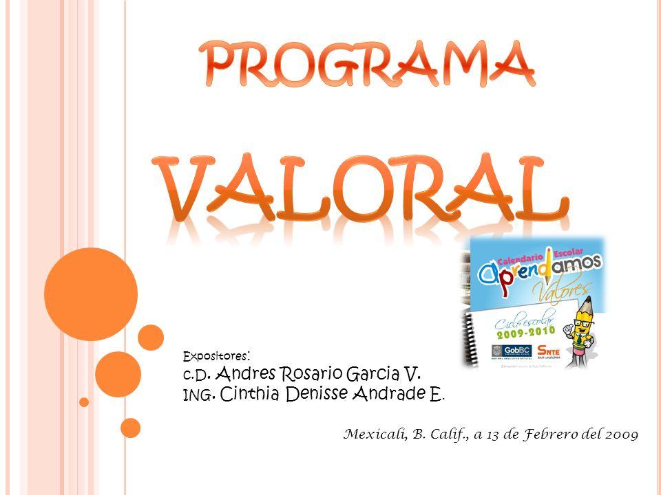 Expositores : c.D. Andres Rosario Garcia V. ING. Cinthia Denisse Andrade E. Mexicali, B. Calif., a 13 de Febrero del 2009
