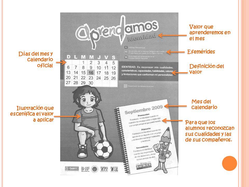 Días del mes y calendario oficial Ilustración que escenifica el valor a aplicar Valor que aprenderemos en el mes Efemérides Definición del valor Mes d