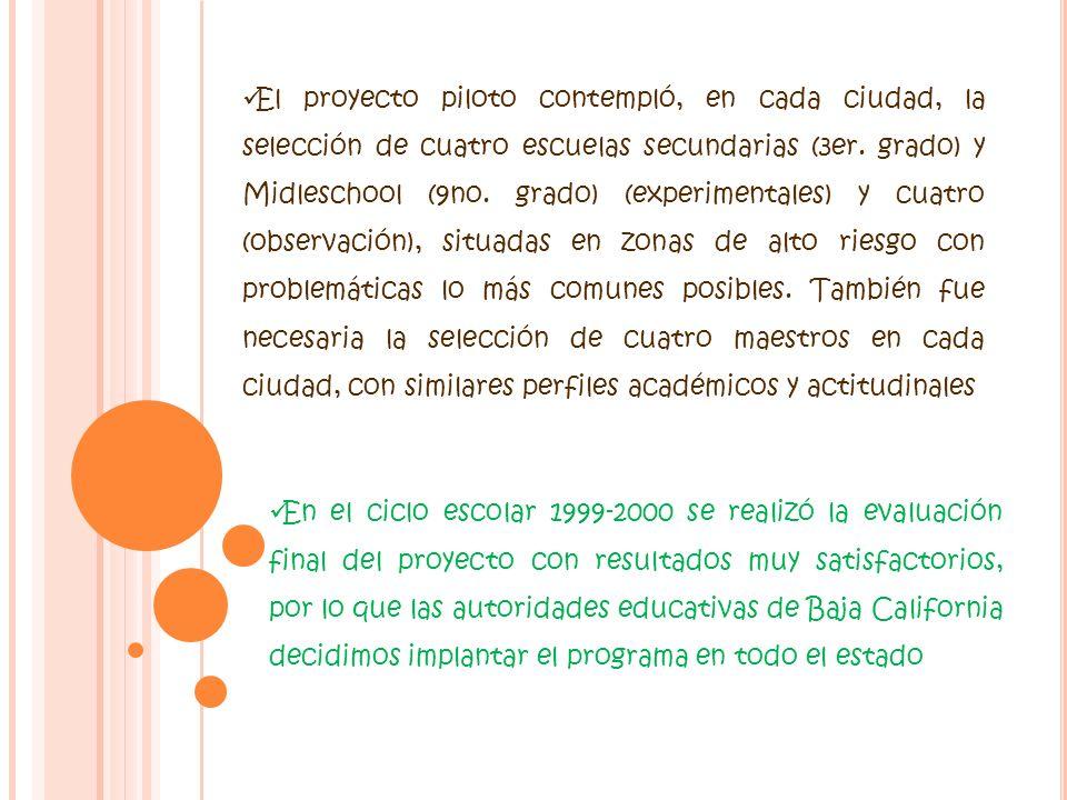 El proyecto piloto contempló, en cada ciudad, la selección de cuatro escuelas secundarias (3er. grado) y Midleschool (9no. grado) (experimentales) y c