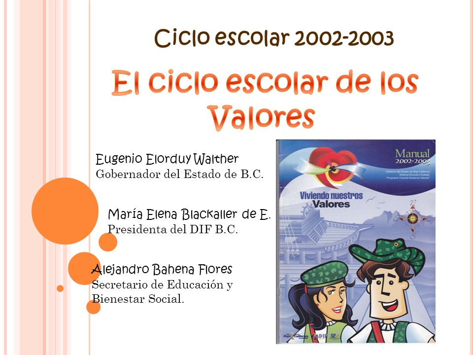 Ciclo escolar 2002-2003 Eugenio Elorduy Walther Gobernador del Estado de B.C. María Elena Blackaller de E. Presidenta del DIF B.C. Alejandro Bahena Fl