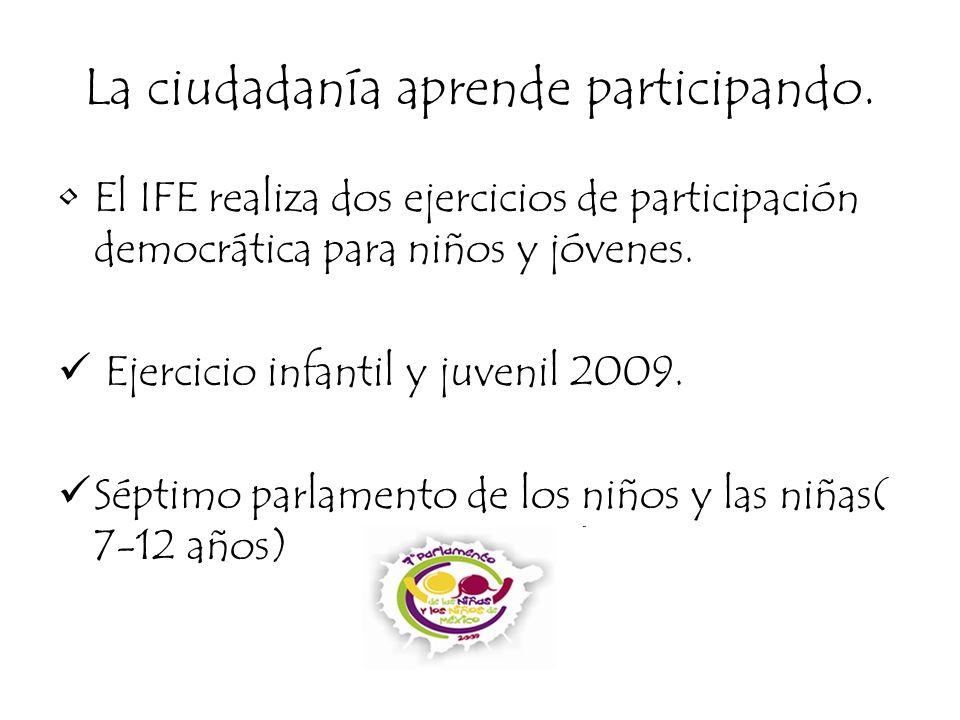 La ciudadanía aprende participando. El IFE realiza dos ejercicios de participación democrática para niños y jóvenes. Ejercicio infantil y juvenil 2009