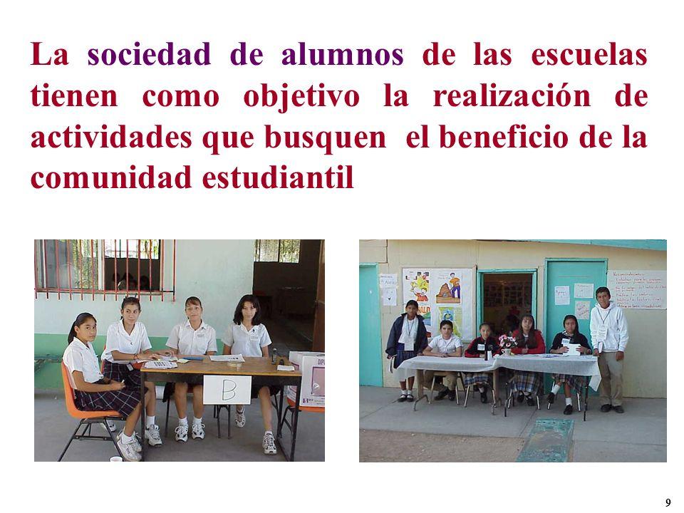 La sociedad de alumnos de las escuelas tienen como objetivo la realización de actividades que busquen el beneficio de la comunidad estudiantil 9