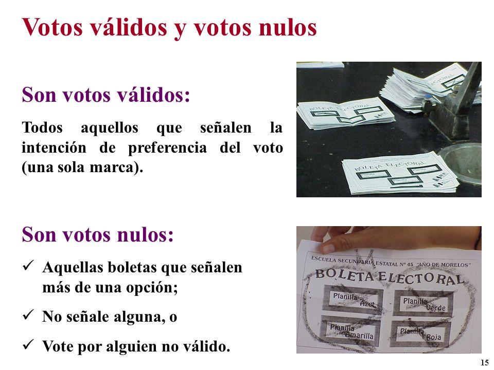 Votos válidos y votos nulos Son votos válidos: Todos aquellos que señalen la intención de preferencia del voto (una sola marca). Son votos nulos: Aque