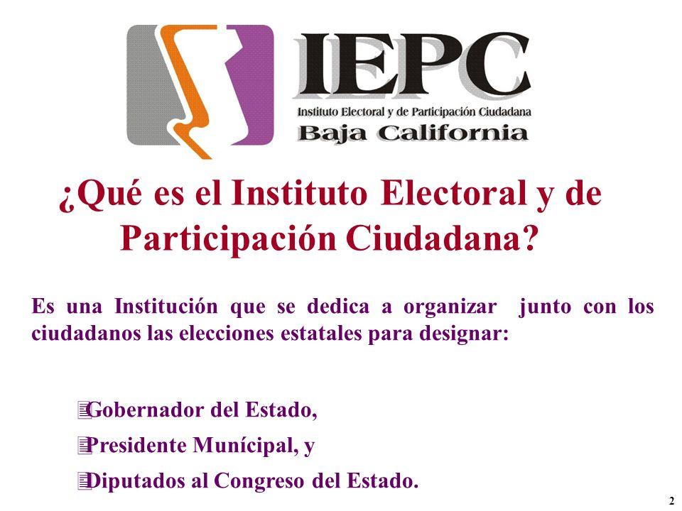 ¿Qué es el Instituto Electoral y de Participación Ciudadana? Es una Institución que se dedica a organizar junto con los ciudadanos las elecciones esta