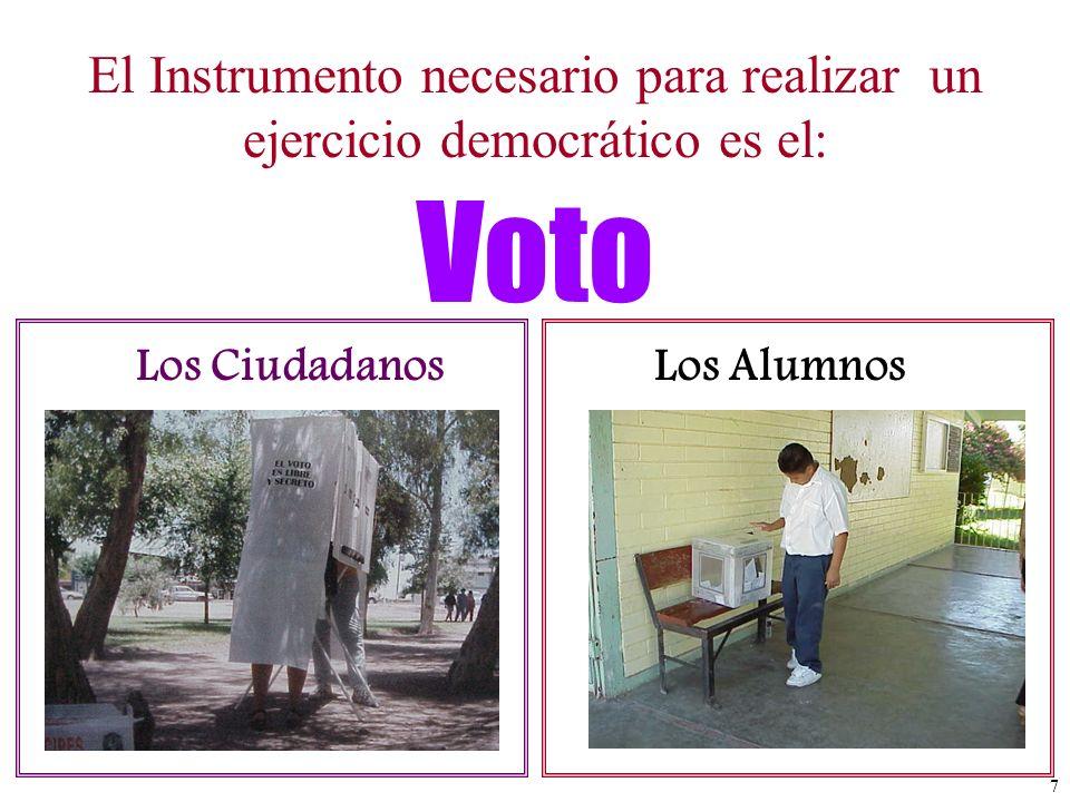 El Instrumento necesario para realizar un ejercicio democrático es el: Los CiudadanosLos Alumnos Voto 7