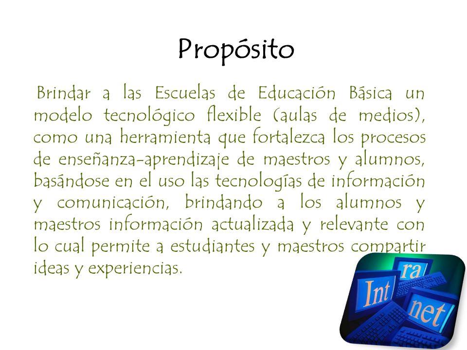 Propósito Brindar a las Escuelas de Educación Básica un modelo tecnológico flexible (aulas de medios), como una herramienta que fortalezca los proceso