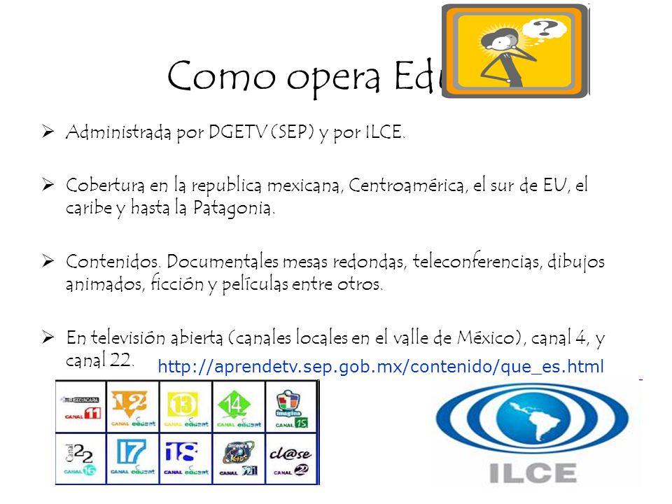 Como opera Edusat Administrada por DGETV (SEP) y por ILCE. Cobertura en la republica mexicana, Centroamérica, el sur de EU, el caribe y hasta la Patag