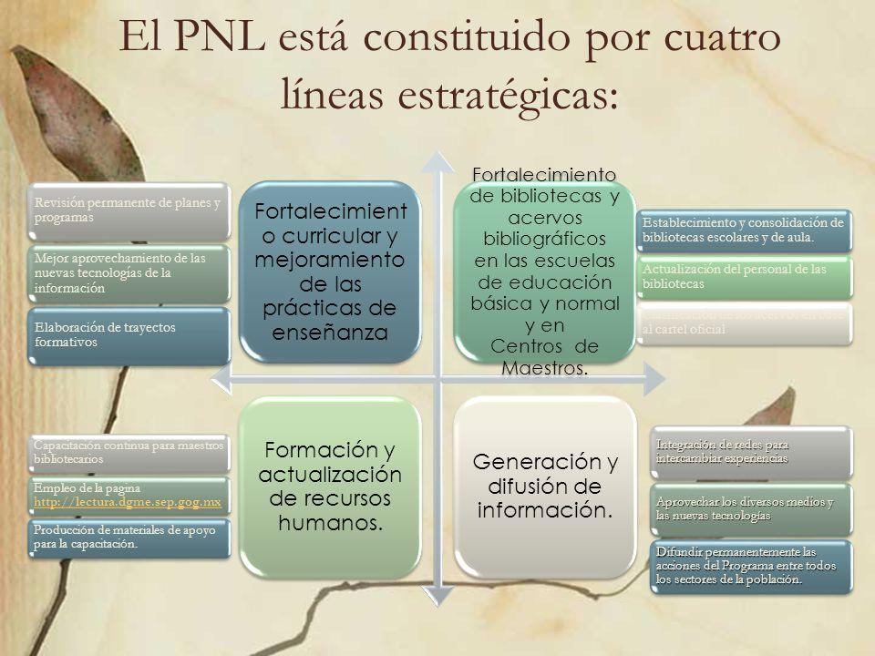 El PNL está constituido por cuatro líneas estratégicas: Fortalecimient o curricular y mejoramiento de las prácticas de enseñanza Fortalecimiento de bi