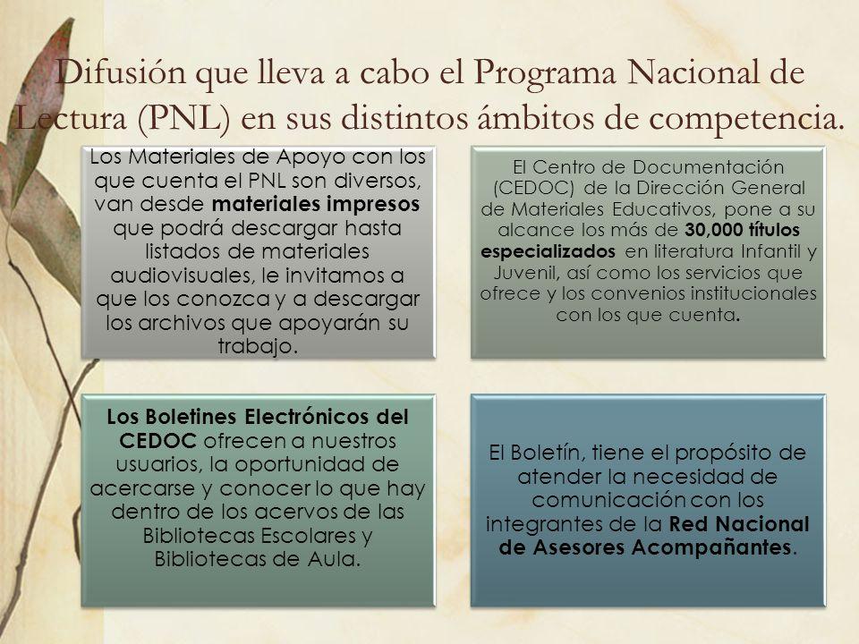 Difusión que lleva a cabo el Programa Nacional de Lectura (PNL) en sus distintos ámbitos de competencia. Los Materiales de Apoyo con los que cuenta el