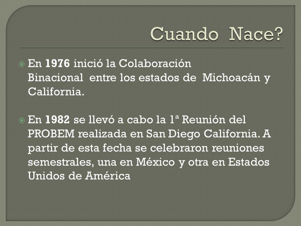 En 1976 inició la Colaboración Binacional entre los estados de Michoacán y California.