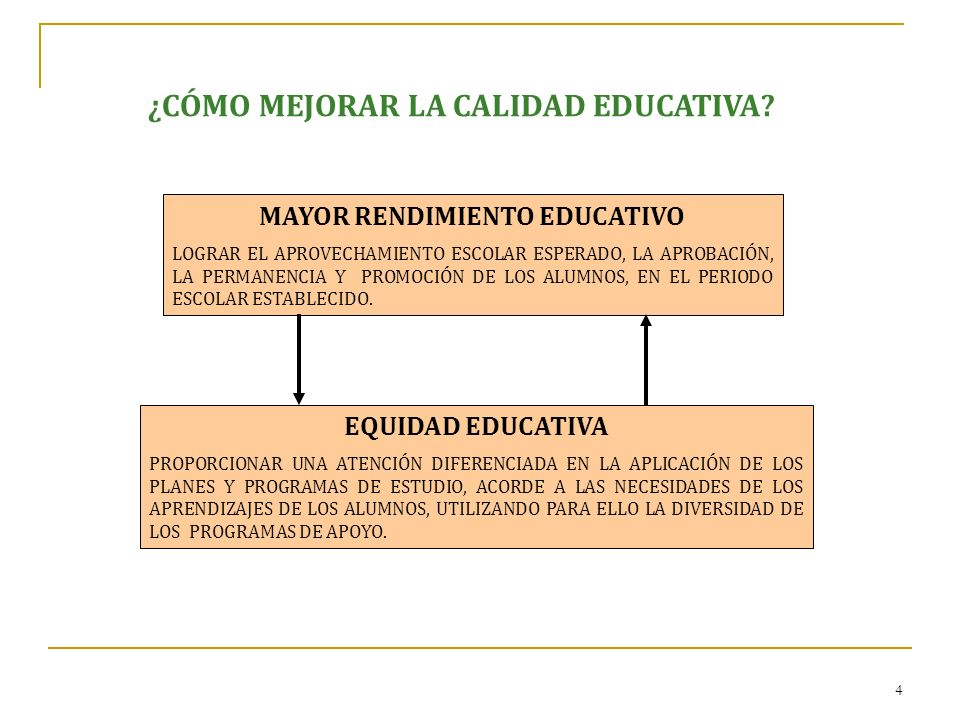 4 ¿CÓMO MEJORAR LA CALIDAD EDUCATIVA? MAYOR RENDIMIENTO EDUCATIVO LOGRAR EL APROVECHAMIENTO ESCOLAR ESPERADO, LA APROBACIÓN, LA PERMANENCIA Y PROMOCIÓ