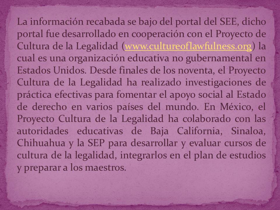 La información recabada se bajo del portal del SEE, dicho portal fue desarrollado en cooperación con el Proyecto de Cultura de la Legalidad (www.cultureoflawfulness.org) la cual es una organización educativa no gubernamental en Estados Unidos.