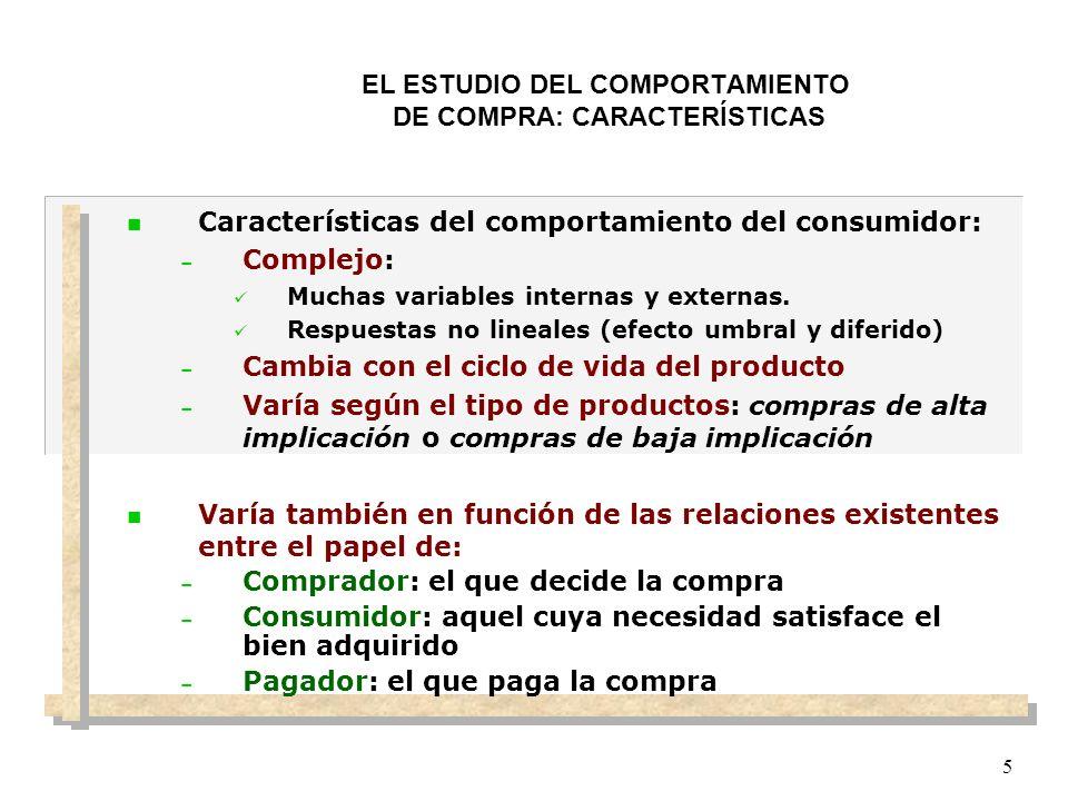 5 EL ESTUDIO DEL COMPORTAMIENTO DE COMPRA: CARACTERÍSTICAS n Características del comportamiento del consumidor: – Complejo: Muchas variables internas