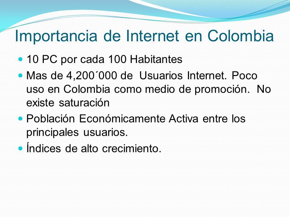Importancia de Internet en Colombia 10 PC por cada 100 Habitantes Mas de 4,200´000 de Usuarios Internet. Poco uso en Colombia como medio de promoción.