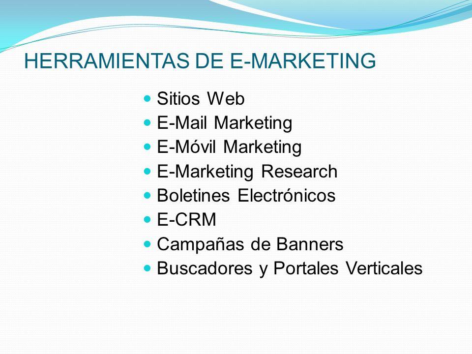HERRAMIENTAS DE E-MARKETING Sitios Web E-Mail Marketing E-Móvil Marketing E-Marketing Research Boletines Electrónicos E-CRM Campañas de Banners Buscad