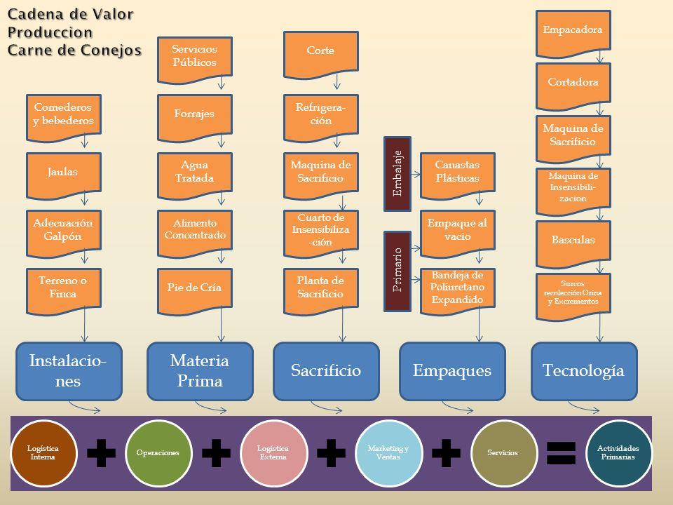 Logística Interna Operaciones Logística Externa Marketing y Ventas Servicios Actividades Primarias Instalacio- nes Materia Prima SacrificioEmpaquesTec