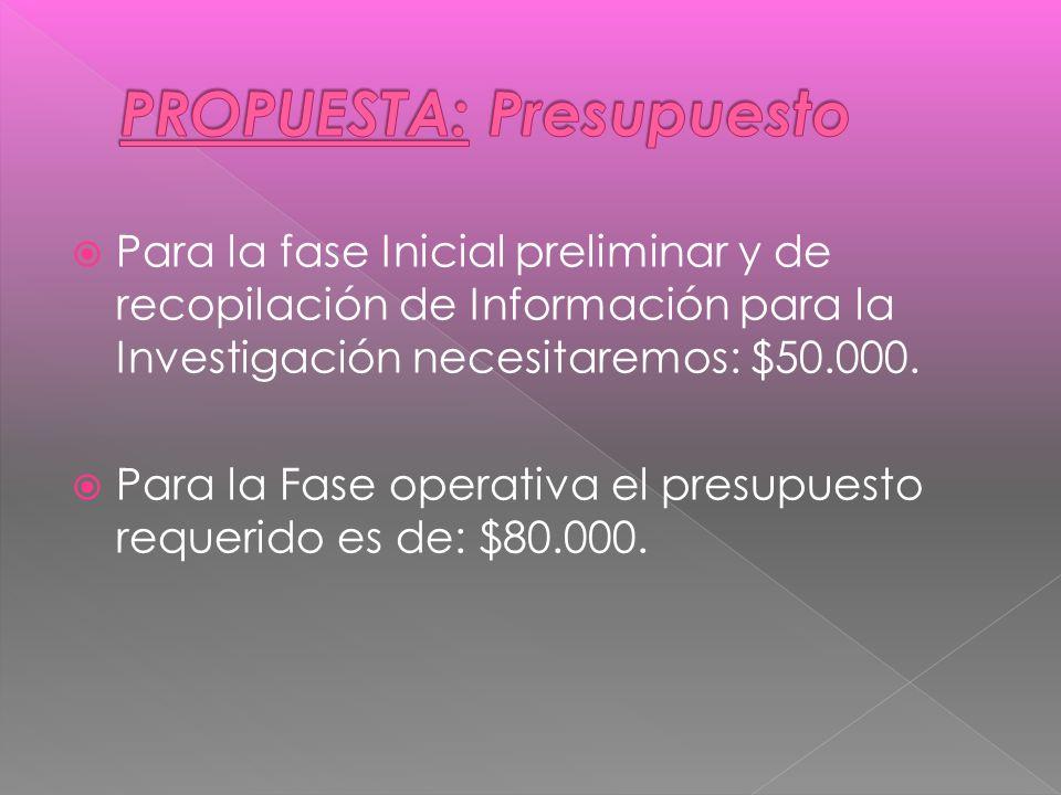 Para la fase Inicial preliminar y de recopilación de Información para la Investigación necesitaremos: $50.000.