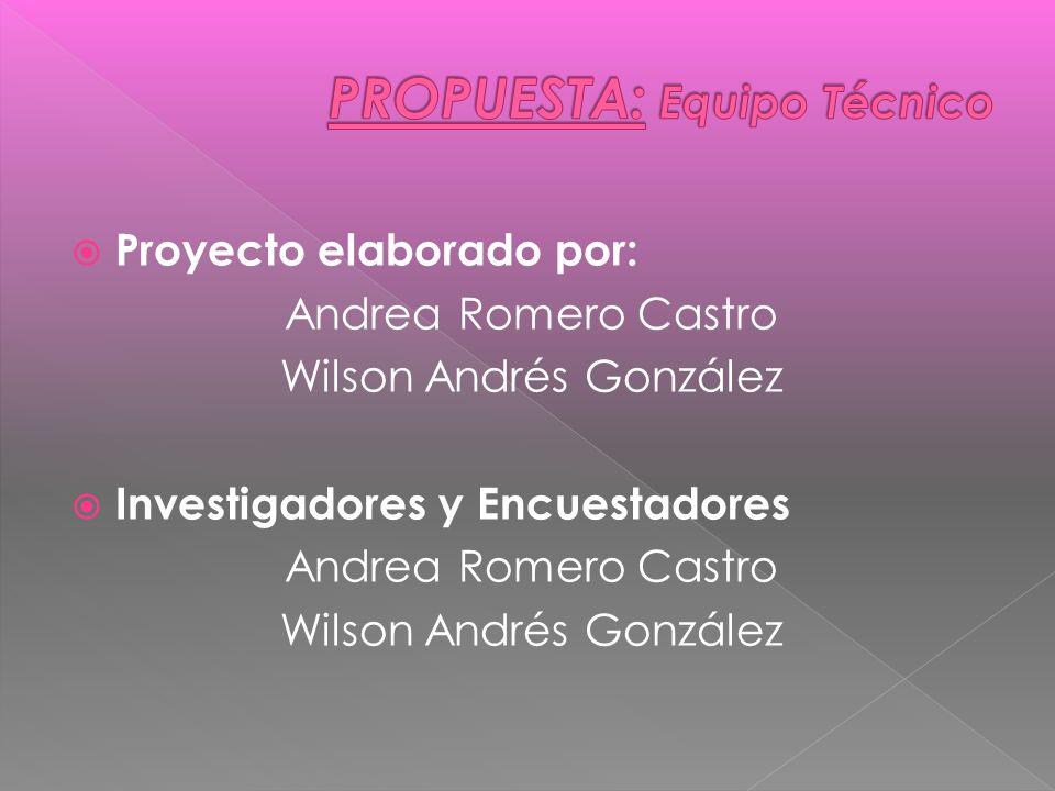 Proyecto elaborado por: Andrea Romero Castro Wilson Andrés González Investigadores y Encuestadores Andrea Romero Castro Wilson Andrés González