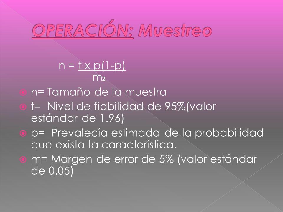 n = t x p(1-p) m 2 n= Tamaño de la muestra t= Nivel de fiabilidad de 95%(valor estándar de 1.96) p= Prevalecía estimada de la probabilidad que exista la característica.
