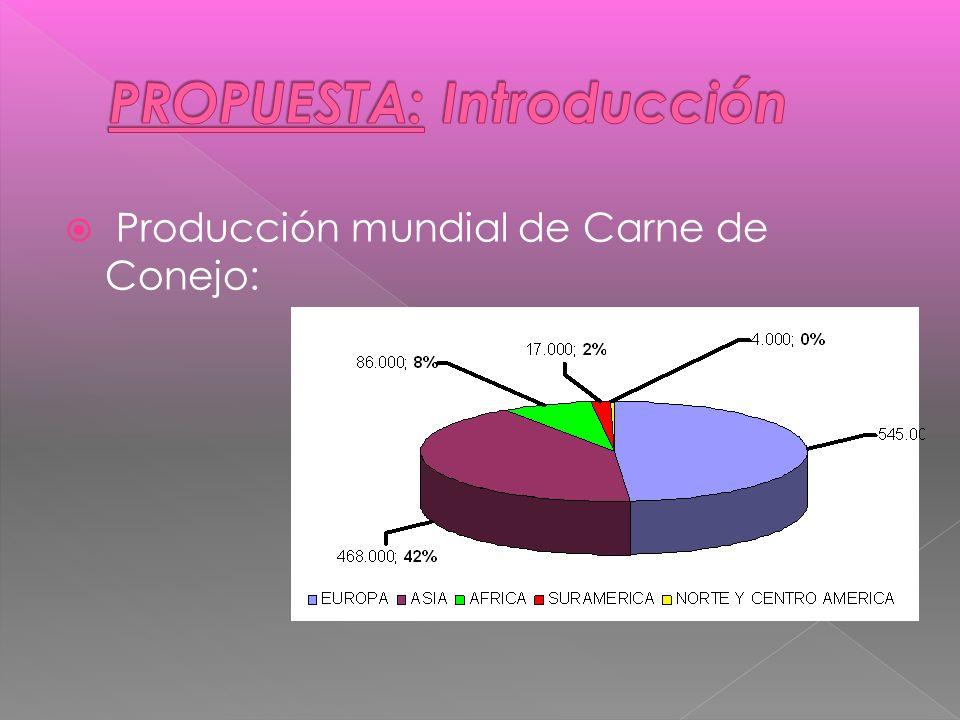 Producción mundial de Carne de Conejo: