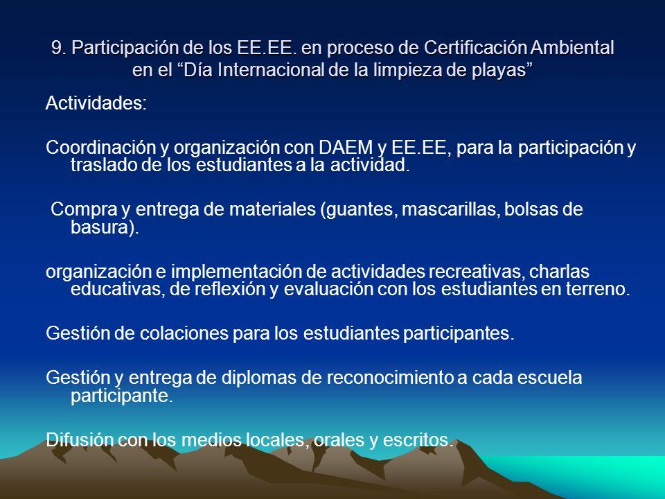 9. Participación de los EE.EE. en proceso de Certificación Ambiental en el Día Internacional de la limpieza de playas Actividades: Coordinación y orga