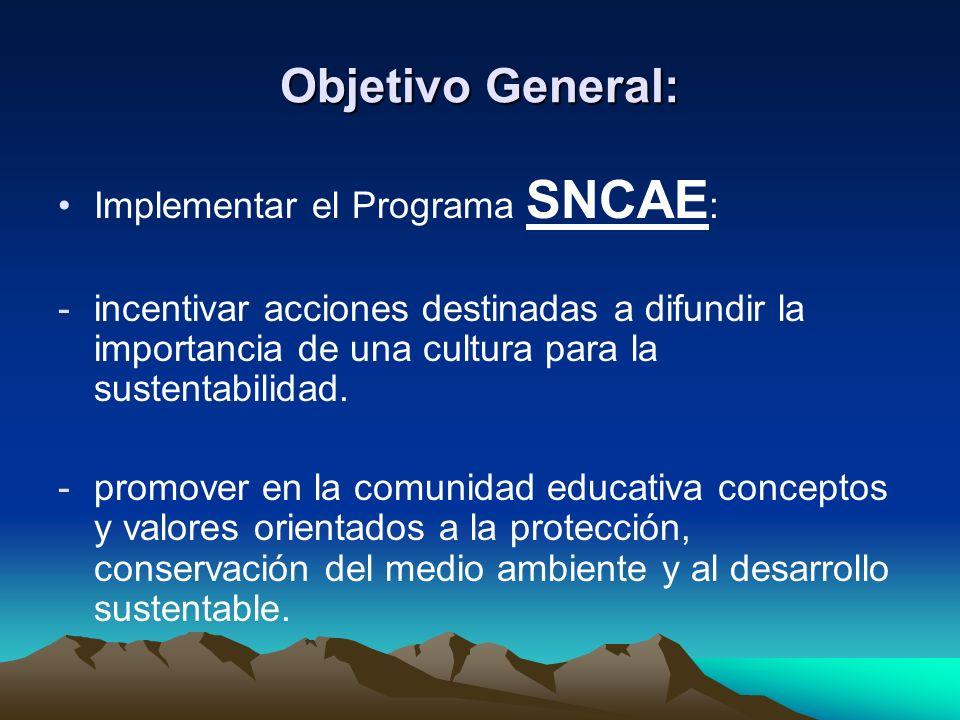 Objetivo General: Implementar el Programa SNCAE : -incentivar acciones destinadas a difundir la importancia de una cultura para la sustentabilidad. -p