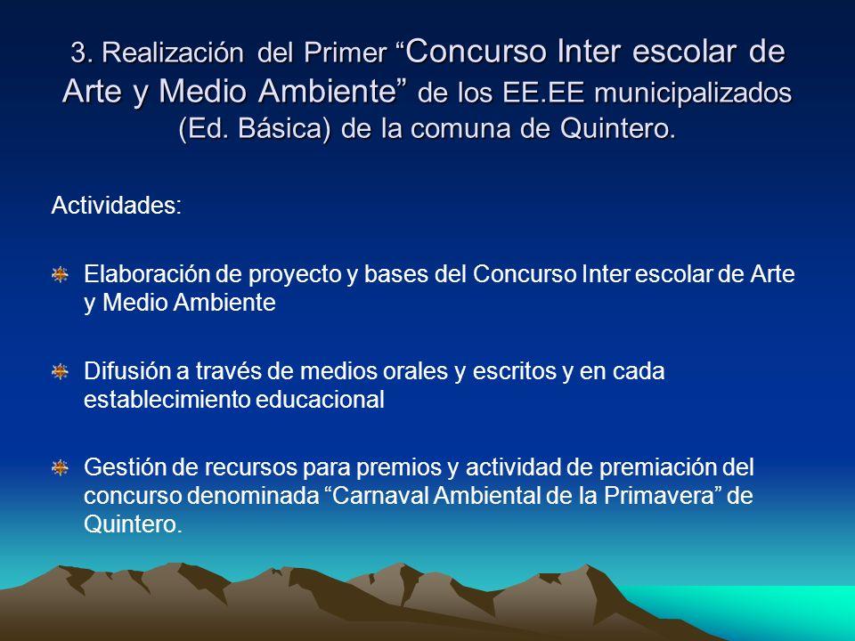 3. Realización del Primer Concurso Inter escolar de Arte y Medio Ambiente de los EE.EE municipalizados (Ed. Básica) de la comuna de Quintero. Activida