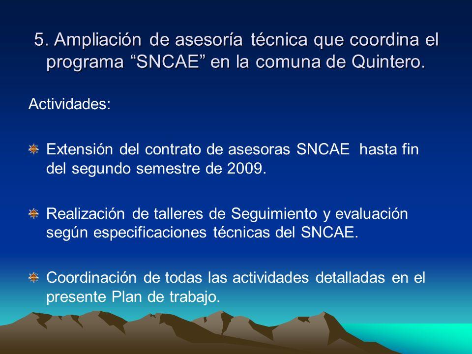 5. Ampliación de asesoría técnica que coordina el programa SNCAE en la comuna de Quintero. Actividades: Extensión del contrato de asesoras SNCAE hasta