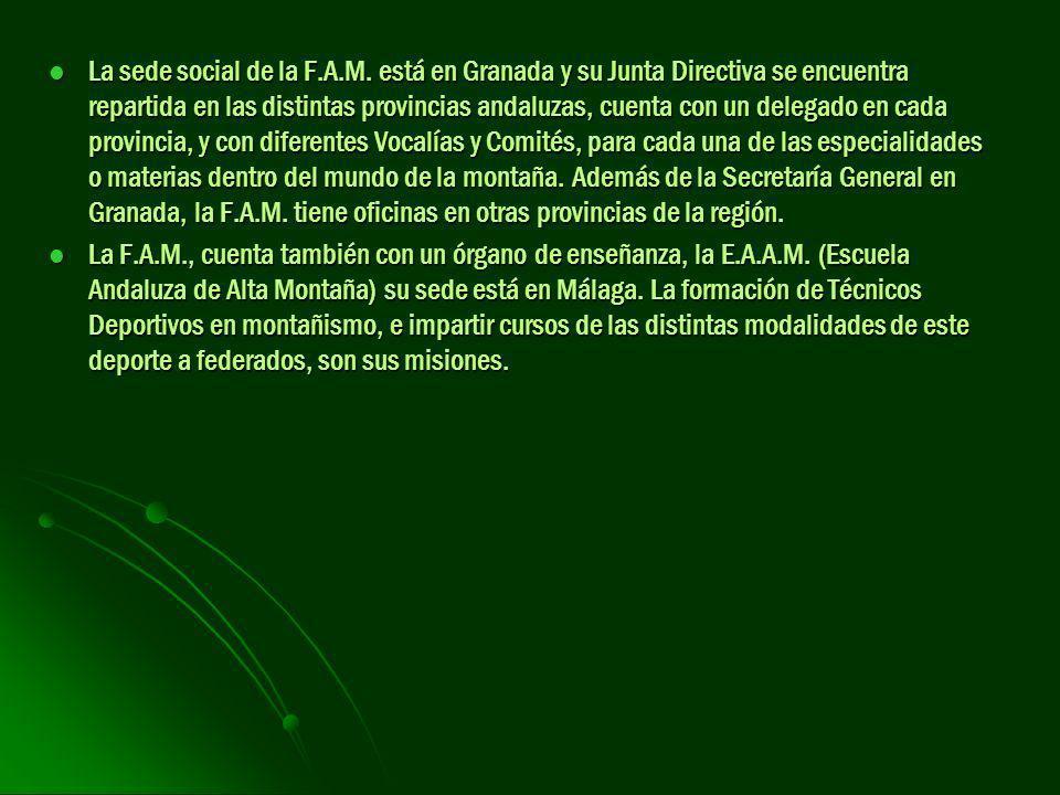 La sede social de la F.A.M. está en Granada y su Junta Directiva se encuentra repartida en las distintas provincias andaluzas, cuenta con un delegado