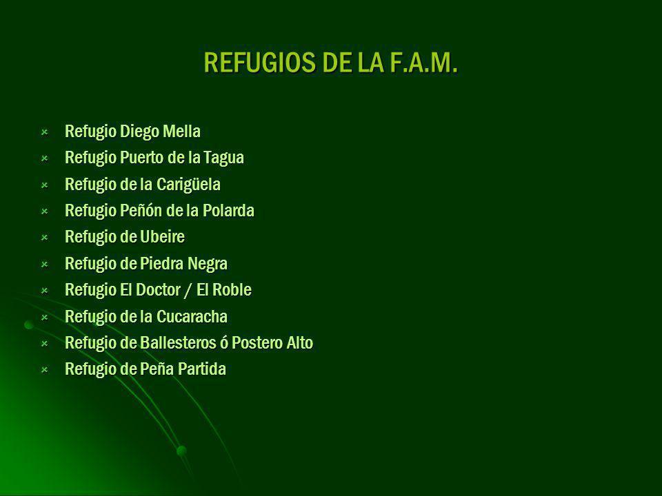 REFUGIOS DE LA F.A.M. Refugio Diego Mella Refugio Diego Mella Refugio Puerto de la Tagua Refugio Puerto de la Tagua Refugio de la Carigüela Refugio de