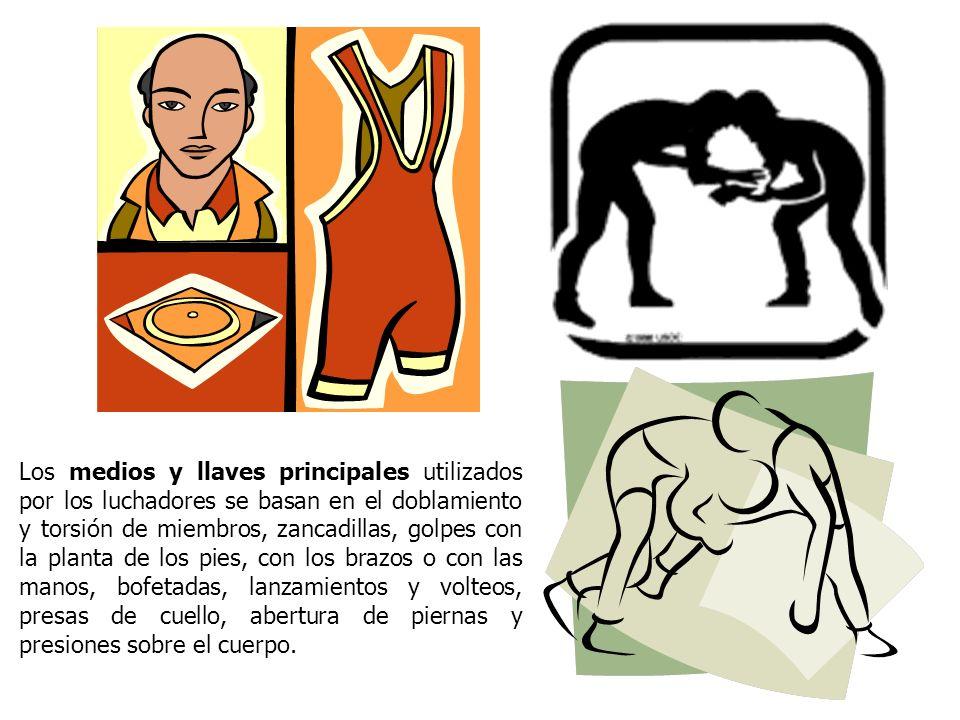 Los medios y llaves principales utilizados por los luchadores se basan en el doblamiento y torsión de miembros, zancadillas, golpes con la planta de l