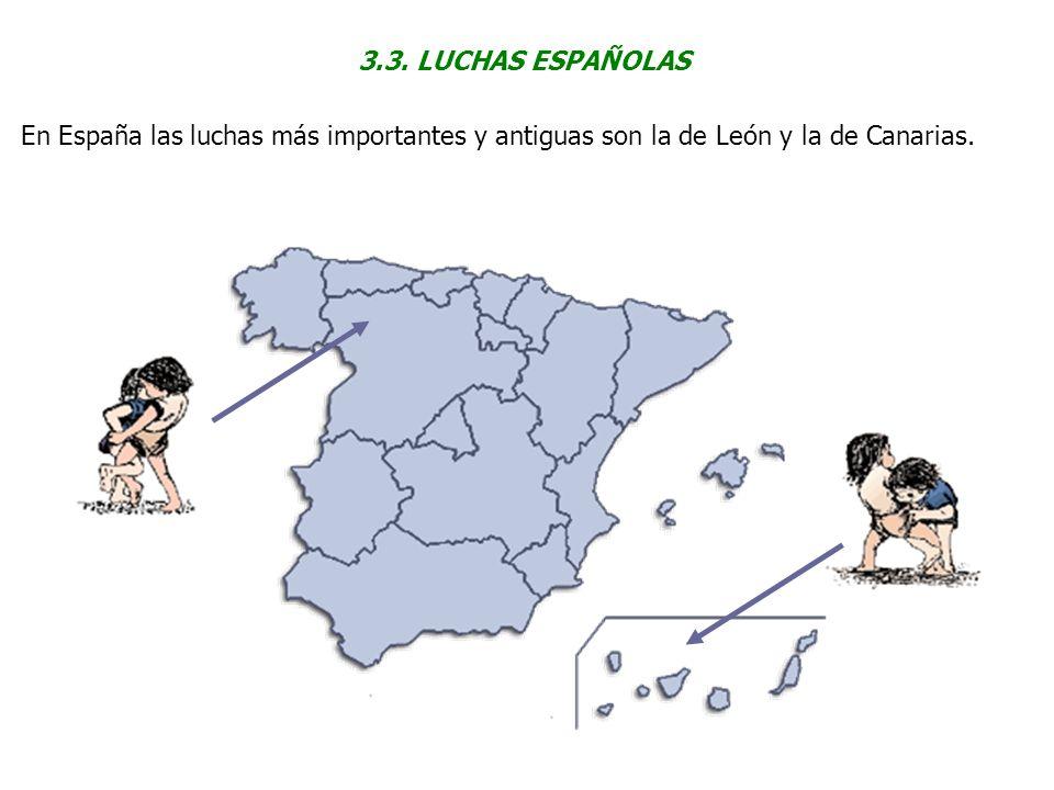 3.3. LUCHAS ESPAÑOLAS En España las luchas más importantes y antiguas son la de León y la de Canarias.