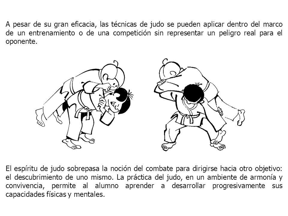 A pesar de su gran eficacia, las técnicas de judo se pueden aplicar dentro del marco de un entrenamiento o de una competición sin representar un pelig