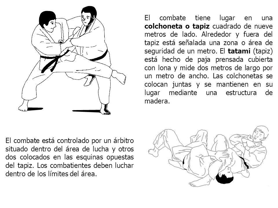El combate tiene lugar en una colchoneta o tapiz cuadrado de nueve metros de lado. Alrededor y fuera del tapiz está señalada una zona o área de seguri