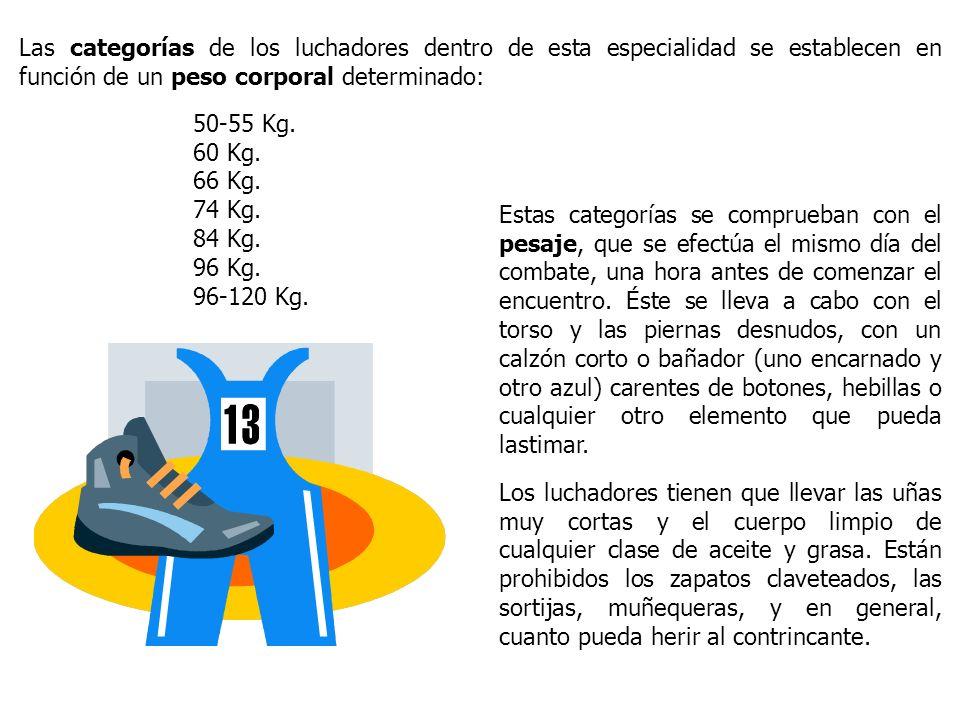 Las categorías de los luchadores dentro de esta especialidad se establecen en función de un peso corporal determinado: 50-55 Kg. 60 Kg. 66 Kg. 74 Kg.