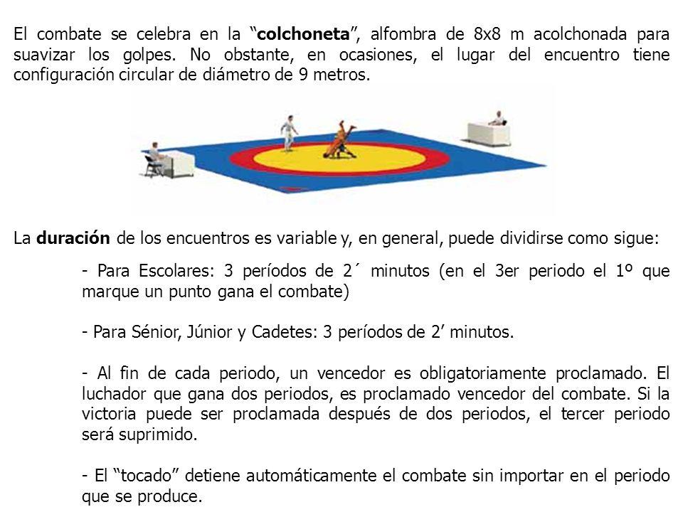 El combate se celebra en la colchoneta, alfombra de 8x8 m acolchonada para suavizar los golpes. No obstante, en ocasiones, el lugar del encuentro tien