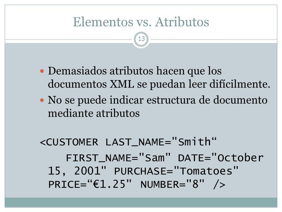 Elementos vs. Atributos 13 Demasiados atributos hacen que los documentos XML se puedan leer difícilmente. No se puede indicar estructura de documento