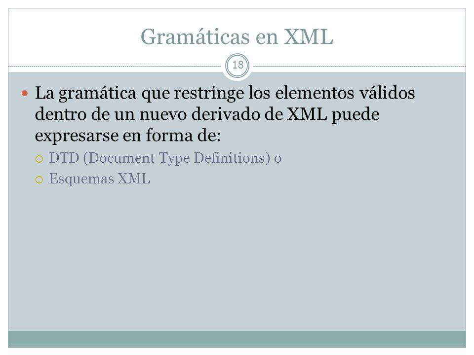 Gramáticas en XML 18 La gramática que restringe los elementos válidos dentro de un nuevo derivado de XML puede expresarse en forma de: DTD (Document T