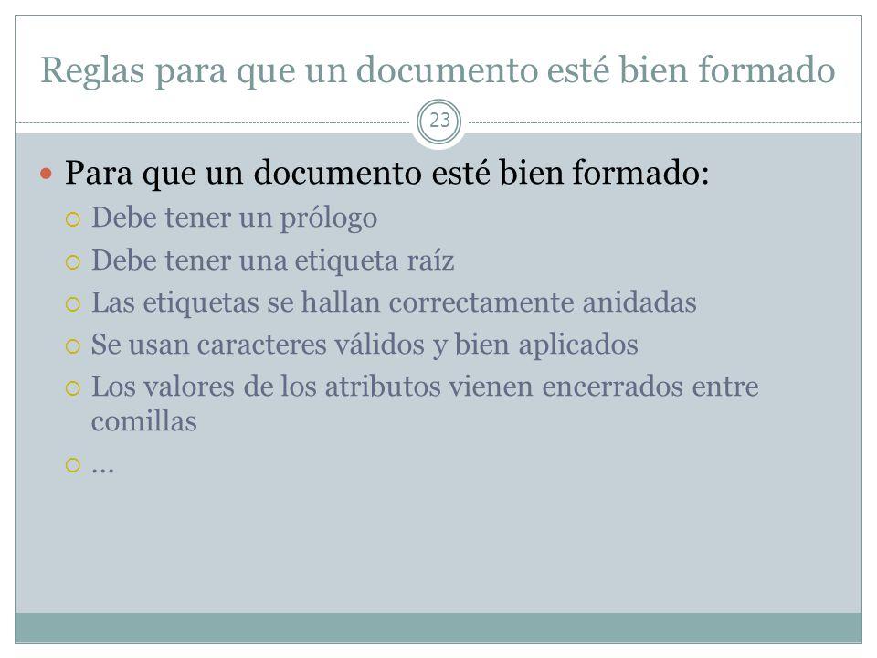Reglas para que un documento esté bien formado 23 Para que un documento esté bien formado: Debe tener un prólogo Debe tener una etiqueta raíz Las etiq