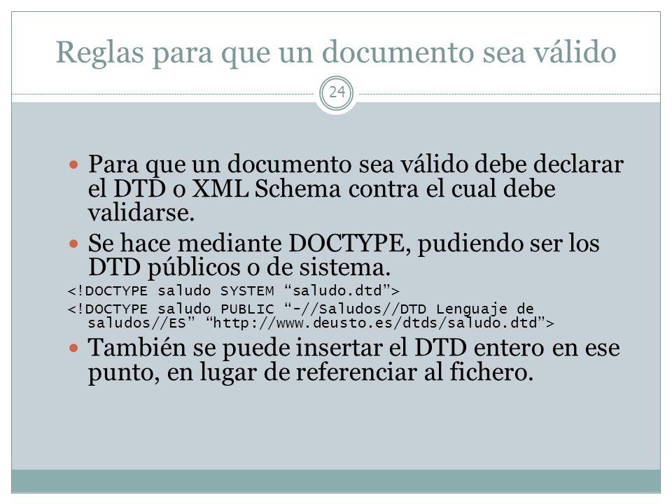 Reglas para que un documento sea válido 24 Para que un documento sea válido debe declarar el DTD o XML Schema contra el cual debe validarse. Se hace m