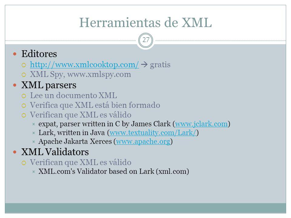 Herramientas de XML 27 Editores http://www.xmlcooktop.com/ gratis http://www.xmlcooktop.com/ XML Spy, www.xmlspy.com XML parsers Lee un documento XML