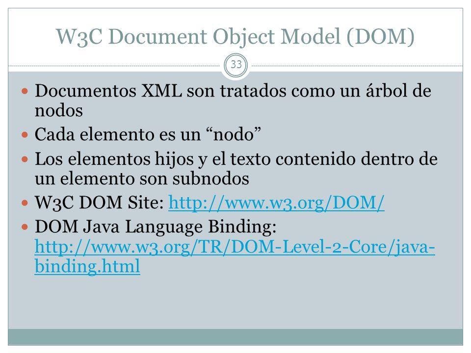W3C Document Object Model (DOM) 33 Documentos XML son tratados como un árbol de nodos Cada elemento es un nodo Los elementos hijos y el texto contenid