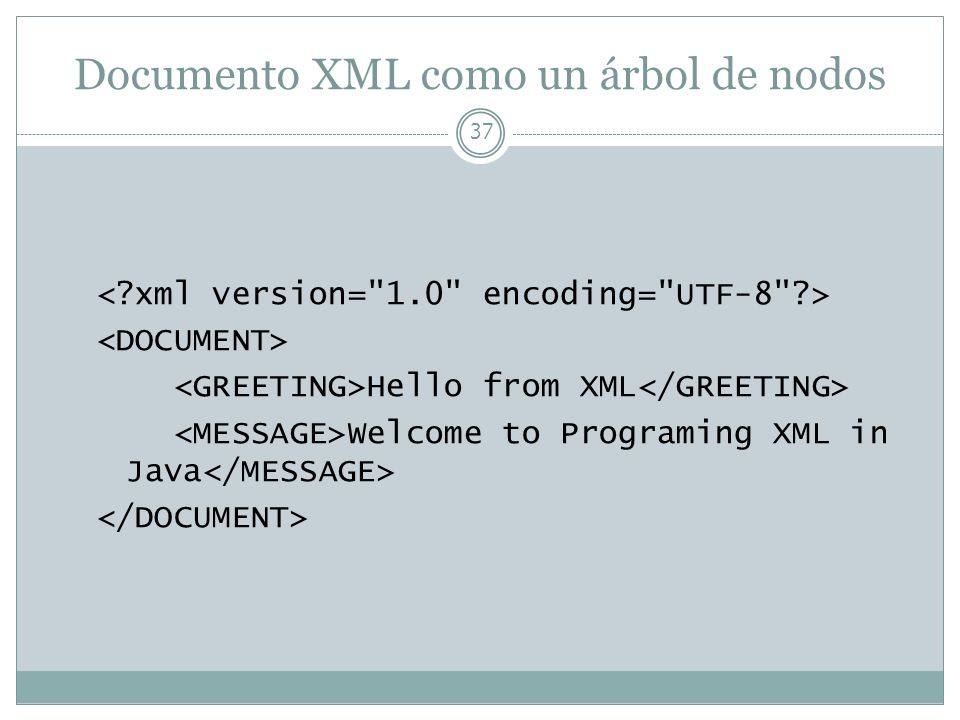 Documento XML como un árbol de nodos 37 Hello from XML Welcome to Programing XML in Java