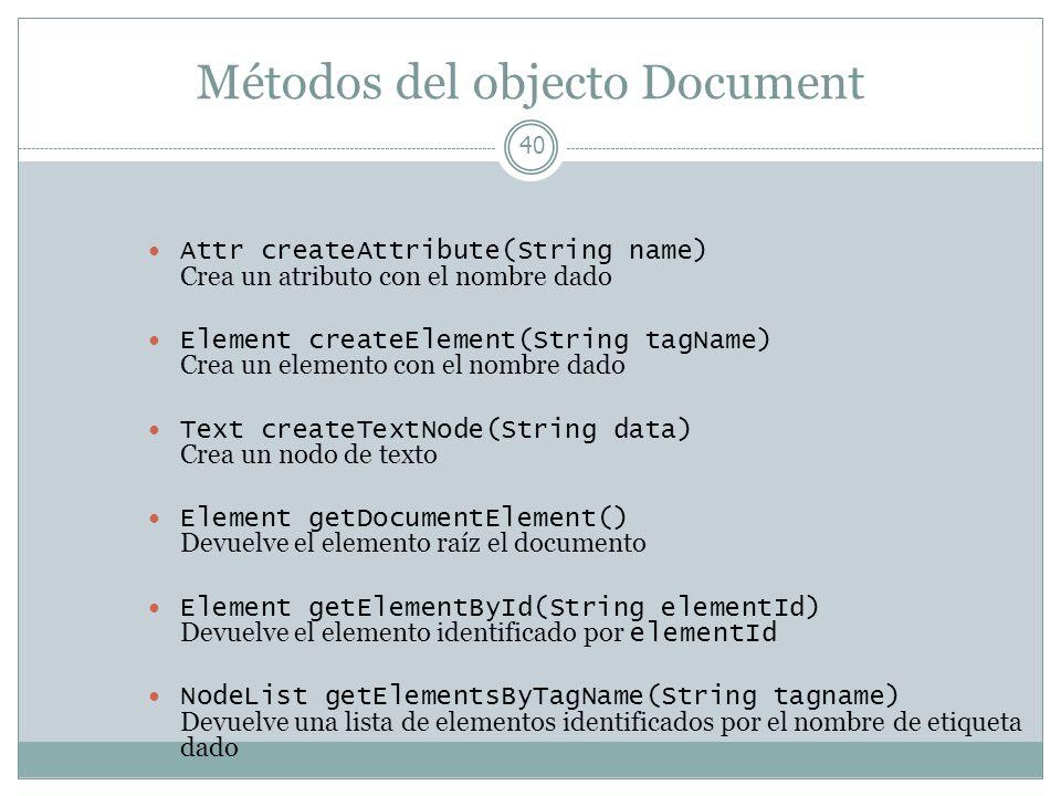 Métodos del objecto Document 40 Attr createAttribute(String name) Crea un atributo con el nombre dado Element createElement(String tagName) Crea un el